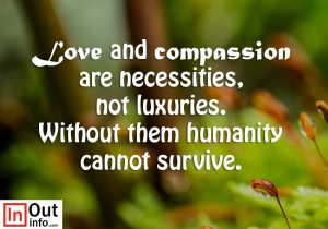 Love and compassion are necessities, not luxuries